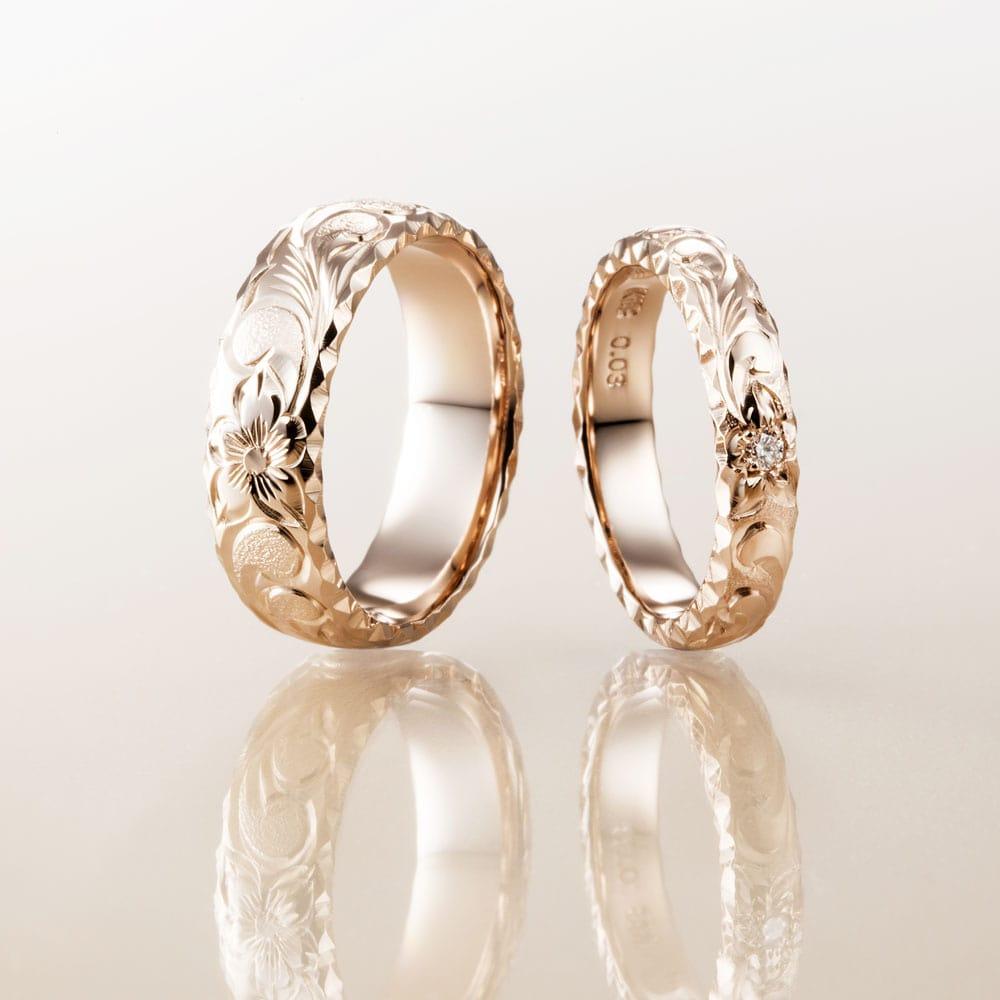 マカナ結婚指輪のK18イエローゴールドバレルタイプ6mm幅と4mm幅です。