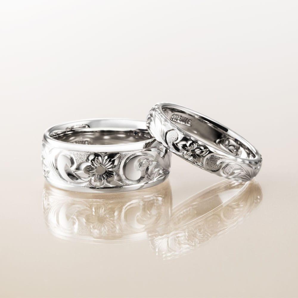 マカナ結婚指輪のK18ホワイトゴールドバレルタイプ8mm幅と4mm幅です。