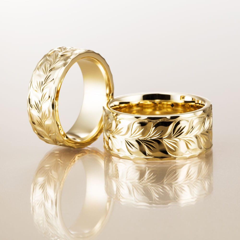マカナ結婚指輪のK18イエローゴールドフラットタイプの7mm幅と9mm幅です。