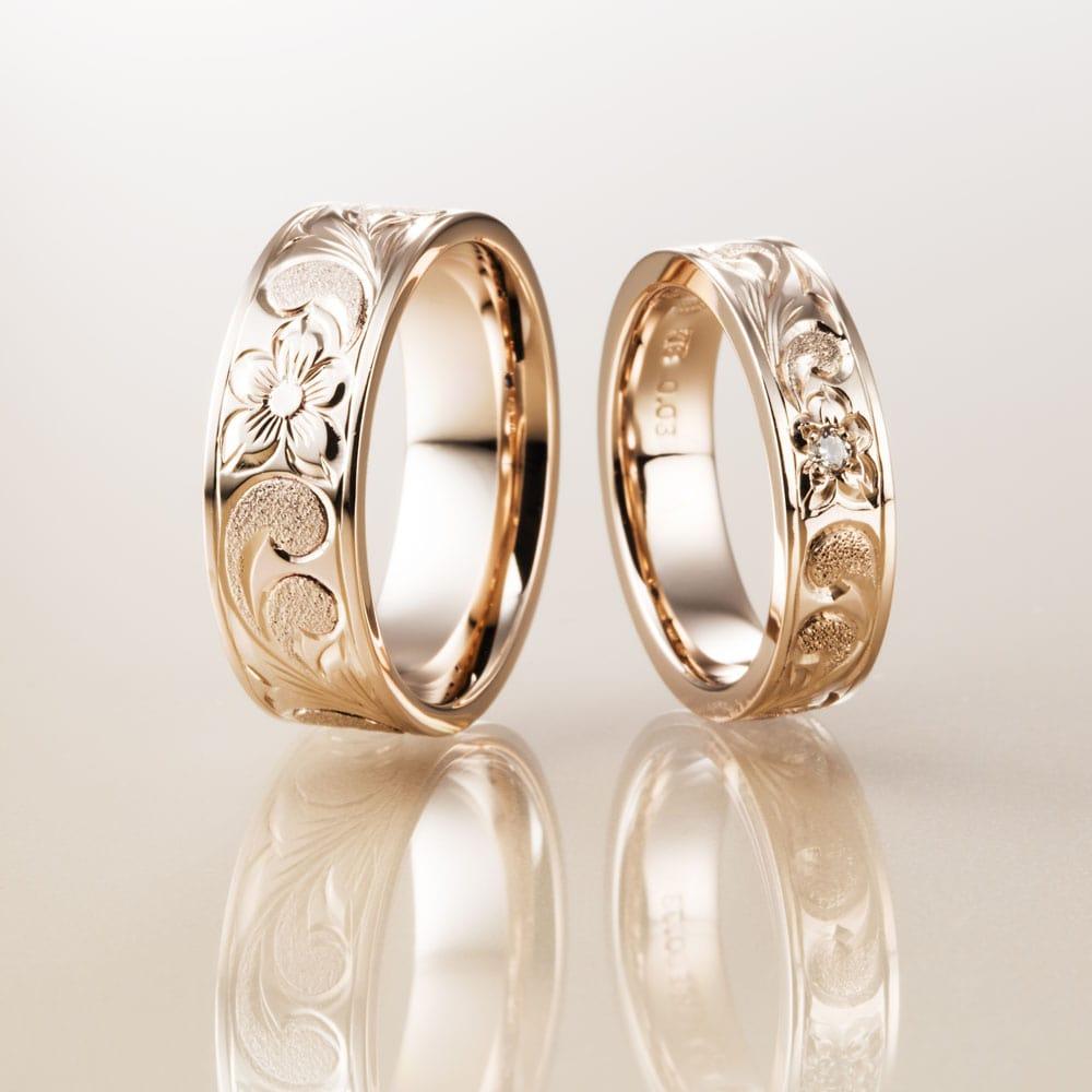 マカナ結婚指輪のK18ピンクゴールドフラットタイプの7mm幅と5mm幅です。