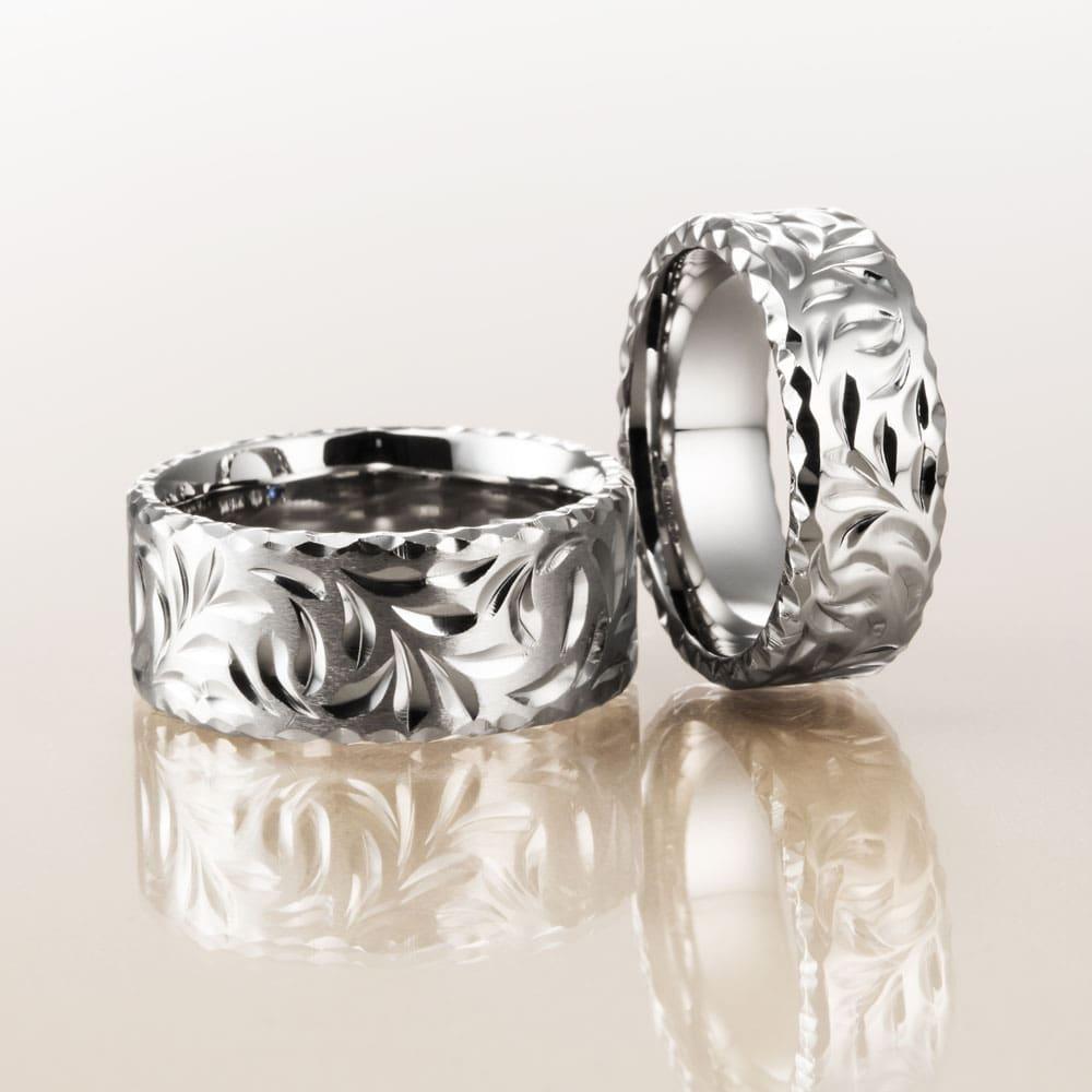 マカナ結婚指輪のK18ホワイトゴールドフラットタイプの9mm幅と7mm幅です。