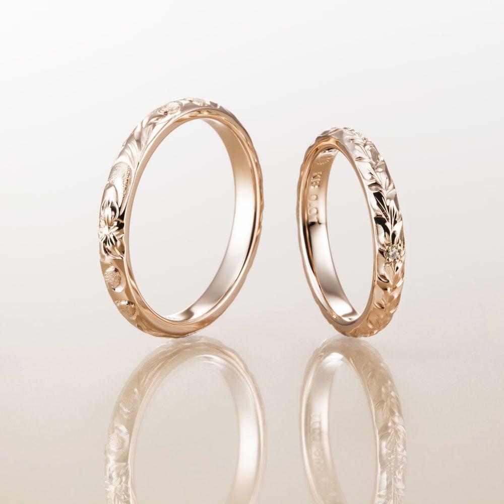 ハワイアンジュエリー結婚指輪のマカナ、K18ピンクゴールドの細見2.8㎜バレルリングです。