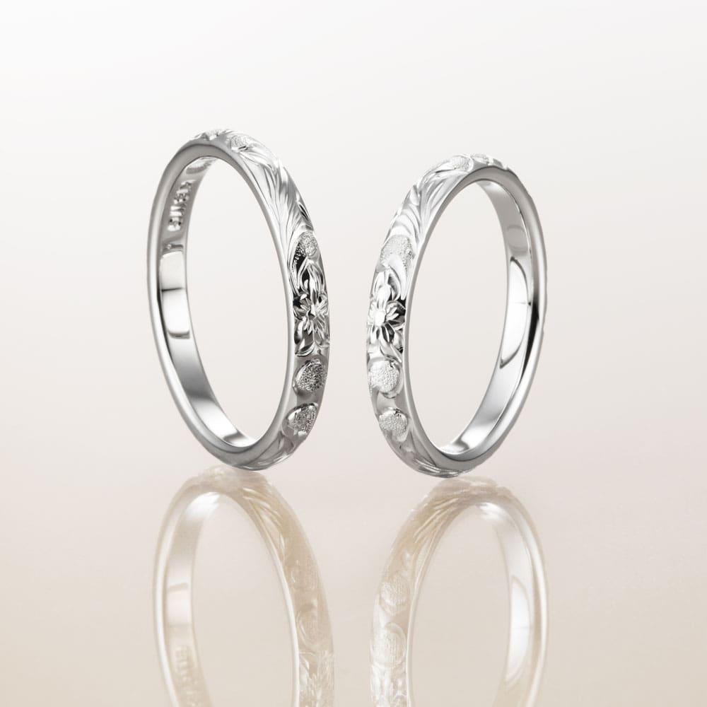 ハワイアンジュエリー結婚指輪のマカナ、K18ホワイトゴールドの細見2.8㎜バレルリングです。