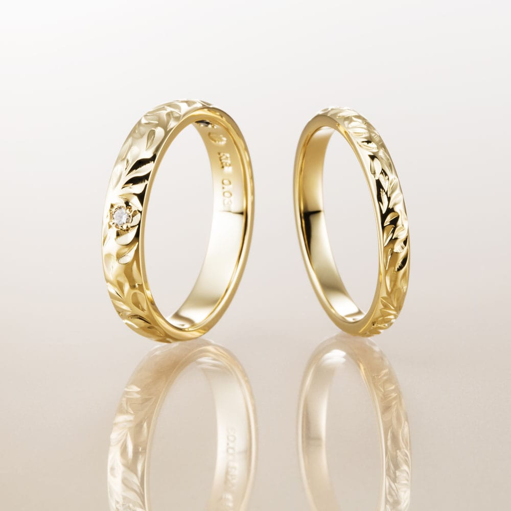 ハワイアンジュエリー結婚指輪のマカナ、K18イエローゴールドの細見2.8㎜バレルリングです。